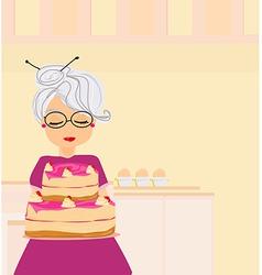 Grandma baked a delicious cake vector