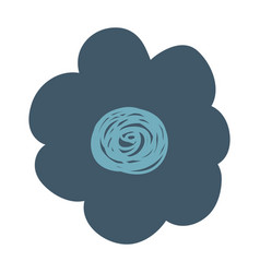 Hand drawing dark blue flower vector