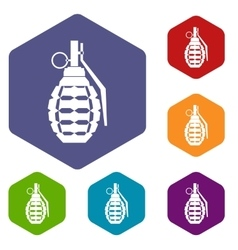 Hand grenade bomb explosion icons set vector image