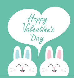 happy valentines day white bunny rabbit couple vector image