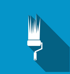 icon paint roller with a long shadow vector image