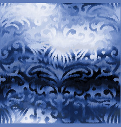 Indigo blue damask refracted glass glow chic tile vector