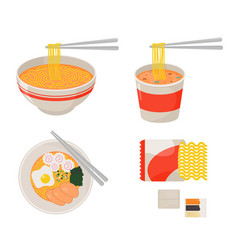Instant noodle collection set ramen cup noodle vector