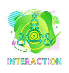 Interaction symbol human and arrows co-working vector