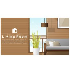 Interior design with modern living room vector