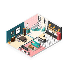 isometric apartment interior background vector image