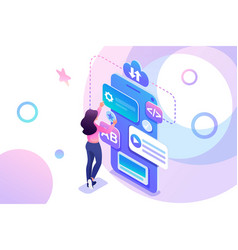 isometric young girl is engaged in creation vector image