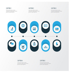 Job colorful icons set collection of local area vector