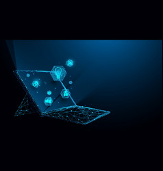 laptop with technology icons from lines triangles vector image