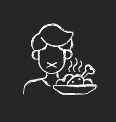 Loss appetite chalk white icon on dark vector
