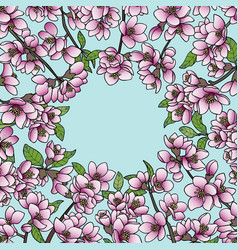 Magnolia and cherry spring round frame vector