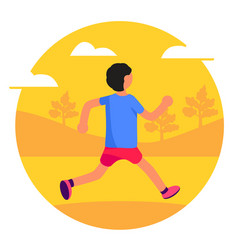 man running in park forest trees and hills vector image