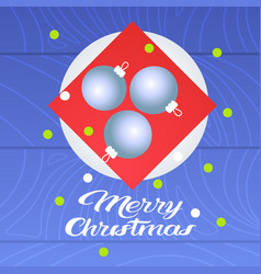 merry christmas table setting with plate christmas vector image