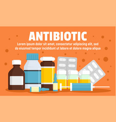 Modern antibiotic concept banner flat style vector