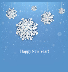 new year poster with snowflake vector image