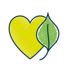 Nice organic leaf plant with heart vector