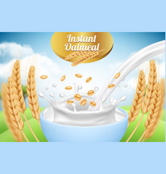Oatmeal ad placard template with milk and wheat vector