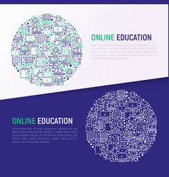 online education concept in circle vector image