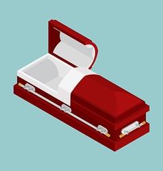 Open coffin isometrics Wooden casket for burial vector image