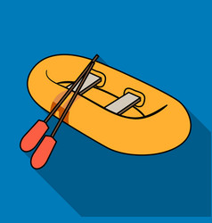 Orange rubber lifeboatthe boat which weighs on vector