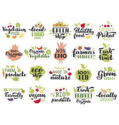 organic fruits and veggies labels vegetarian vector image