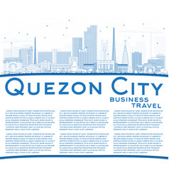Outline quezon city philippines skyline with blue vector