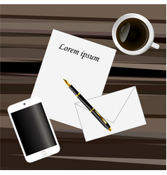 Paper pen smart phone and coffee on a dark brown vector