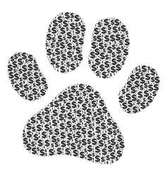 paw footprint composition of dollar and dots vector image
