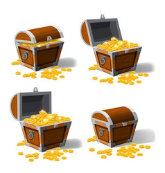 Piratic trunk chests with gold coins treasures vector