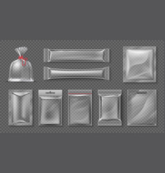 plastic package realistic clear bag mockup 3d vector image