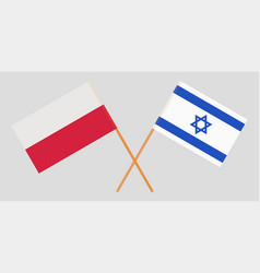 Poland and israel crossed polish and israeli flags vector