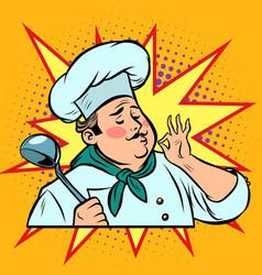 Pop art retro cook ok gesture gourmet food taste vector
