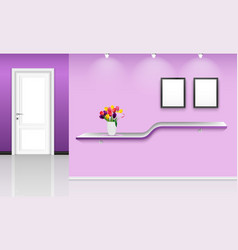 Purple wall background with frames and flowers pot vector