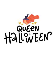 queen halloween sign lettering text vector image