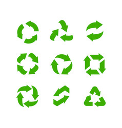 recycle icons set green arrows green safe vector image