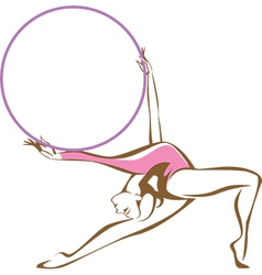 Rhythmic gymnast with a hoop vector image