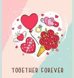 romantic greeting card with love icons vector image