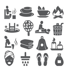 sauna icons set on white background vector image