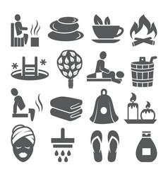 sauna icons set on white background vector image