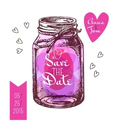 Save date card wedding invitation rustic mason vector