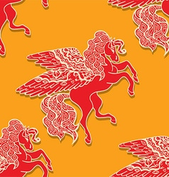 Seamless Flying Horse Pattern vector