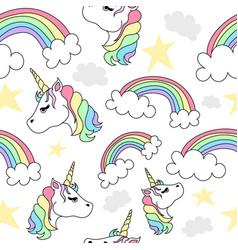 seamless pattern of unicorns and rainbows vector image