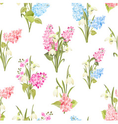seamless pattern siringa and galantus flowers vector image