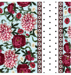 seamless pattern with dahlia peonies wild vector image