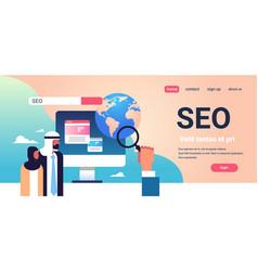 Seo search engine optimization arabic couple vector