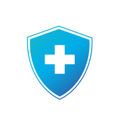shield with white cross security or protection vector image