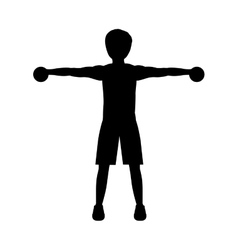 Silhouette with man dumbbell hand vector