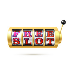 slot machine with free slot text vector image