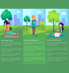 spending time at park in free wi-fi zone at city vector image