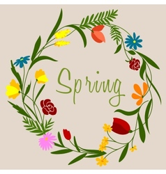 Spring flowers wreath for seasonal decoration vector